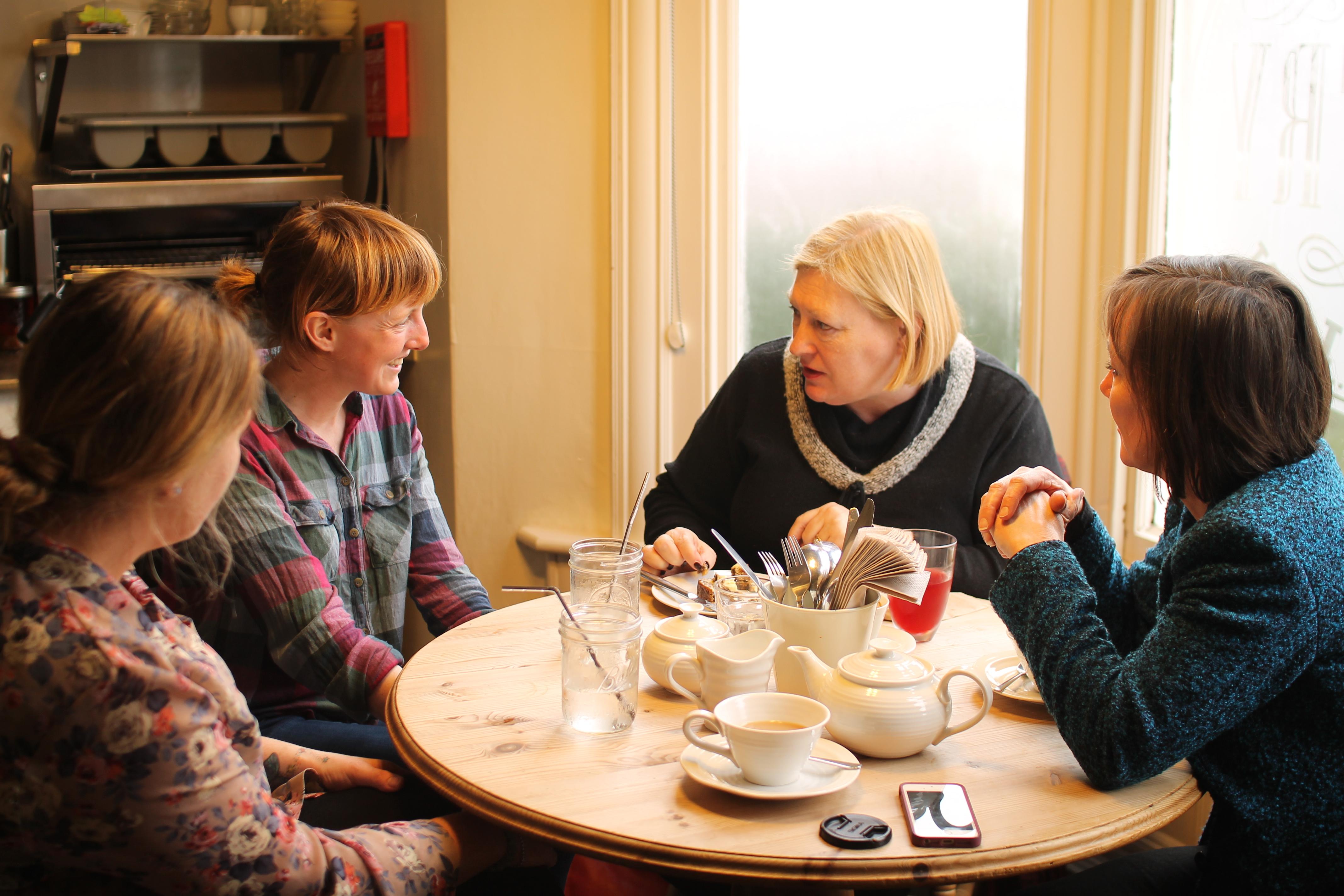 Edwina Hart AM and Jo Stevens with Mel and Jo