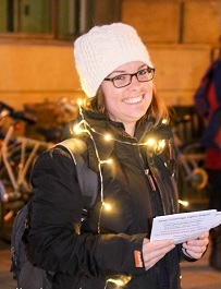 Sophie at the 'Keep Cambridge Lights Bright' demonstration