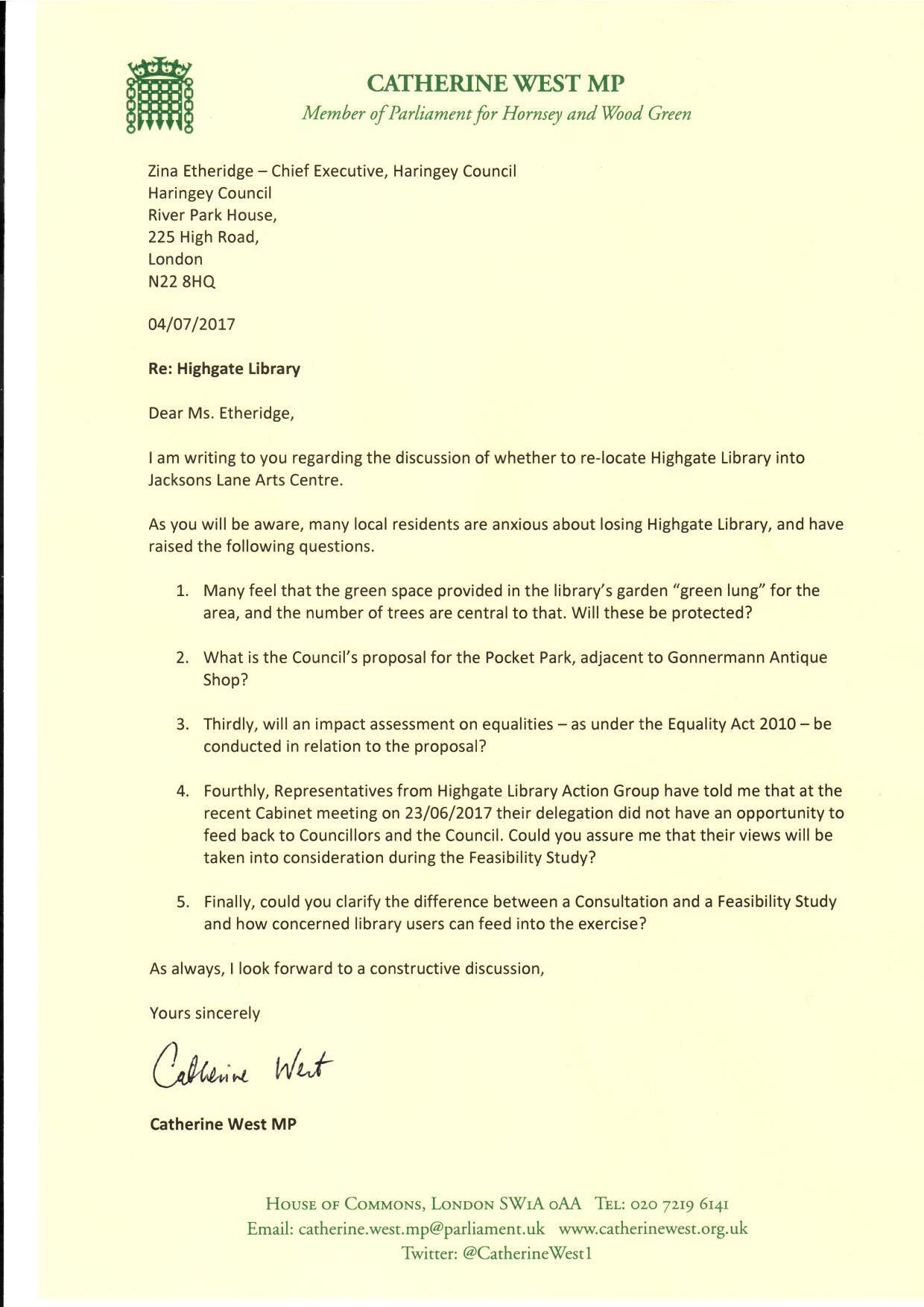 Highgate Library Letter