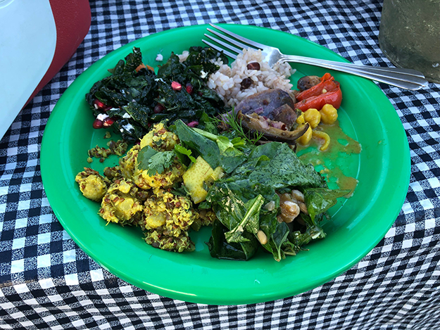 plate of delicious vegetarian food at LAGG teaching garden lunch
