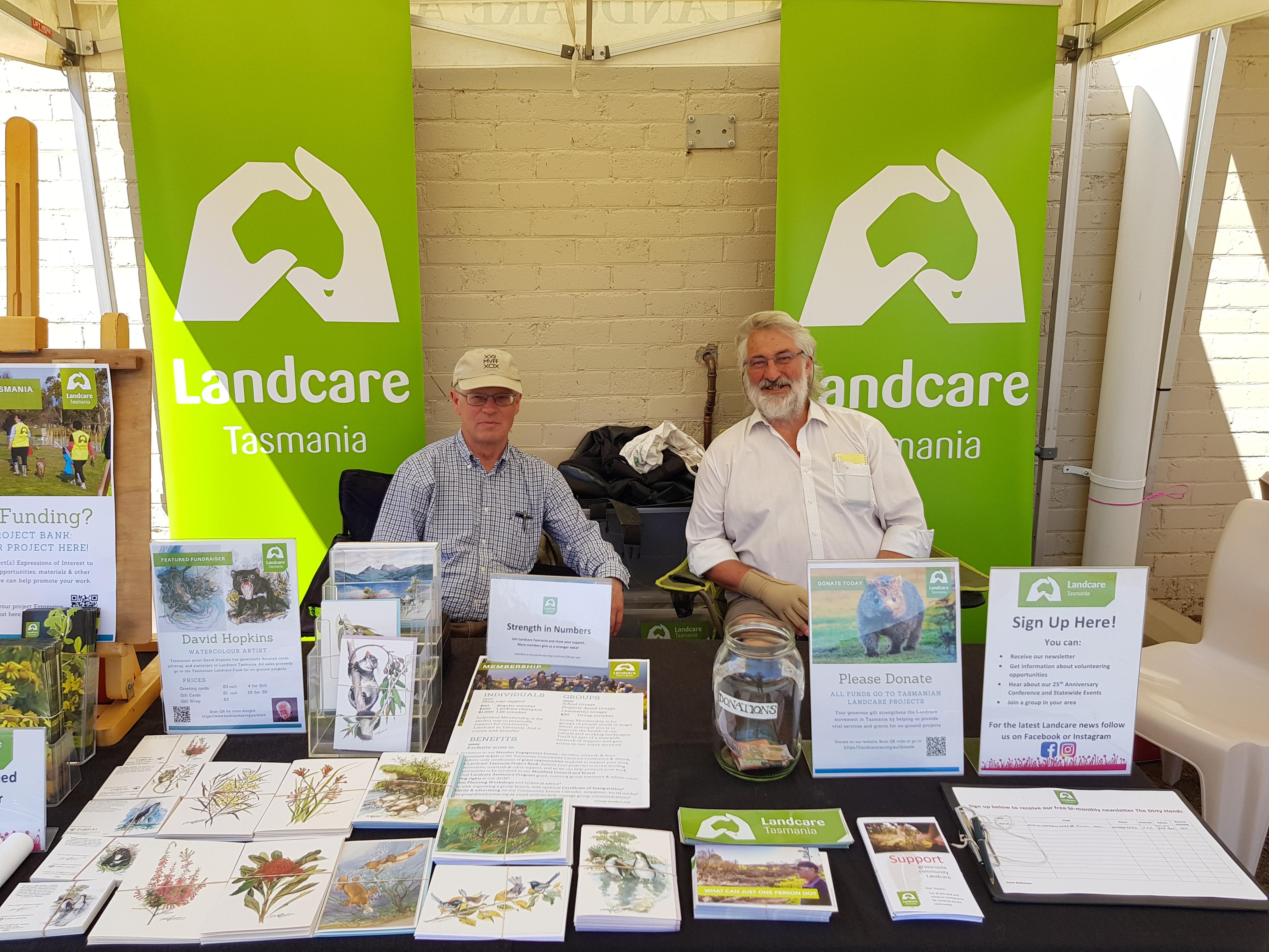 Volunteers Don and Alistair at Ballawinne Festival - Landcare Tasmania