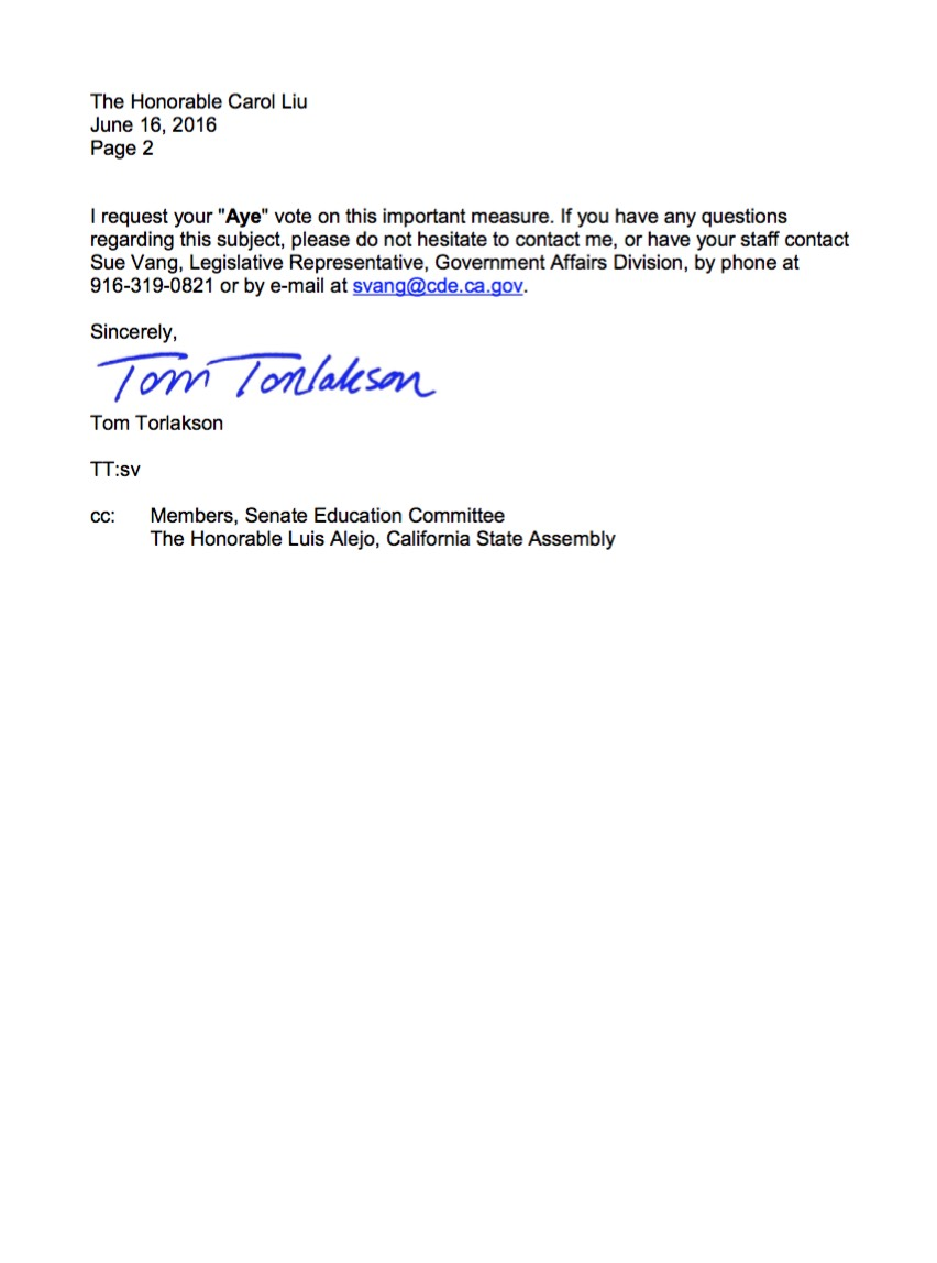 Torlakson support letter AB 2016 p2