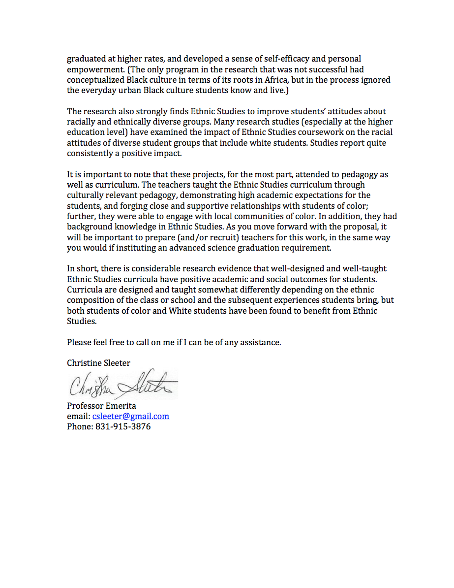 Dr Sleeters Letter of Support Ethnic Studies Now – Sample Letter of Support