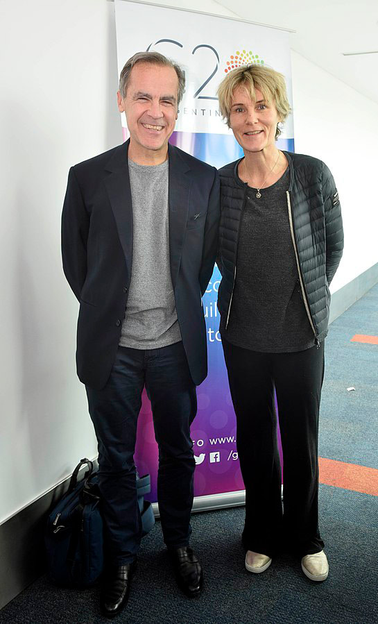 Mark and Diana Carney in 2018. Through Carney, Charles has created the most powerful banker enforcement arm to date for the Green New Deal, the Task Force on Climate-Related Financial Disclosures.