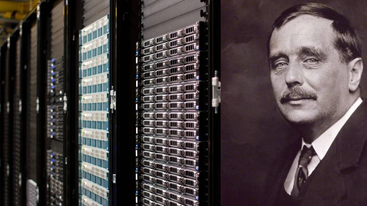 Left: Datacenter Servers, Right: H.G. Wells. Photos: Wikimedia, CC BY-SA 3.0