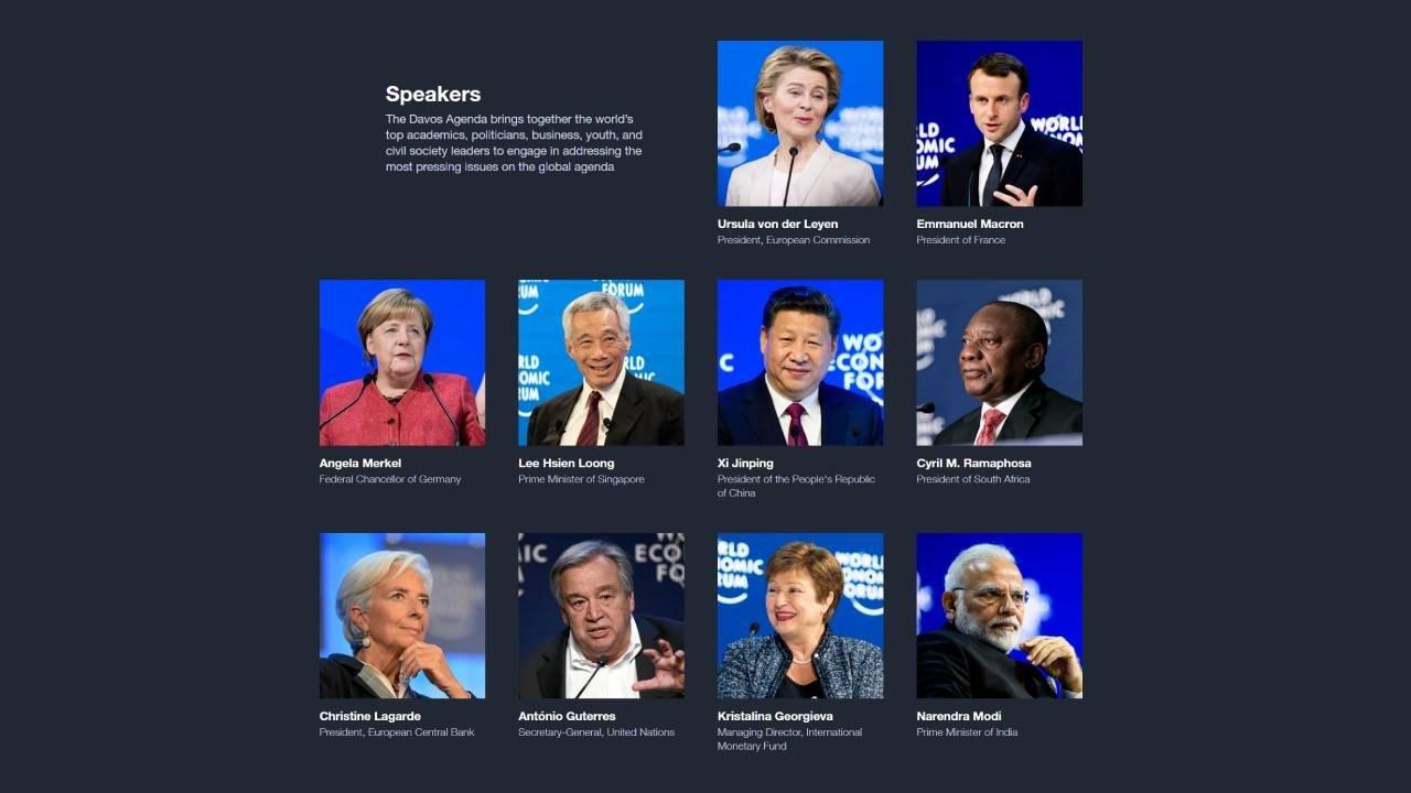 Speakers at the Davos 2021 Agenda meeting. https://www.weforum.org/events/the-davos-agenda-2021