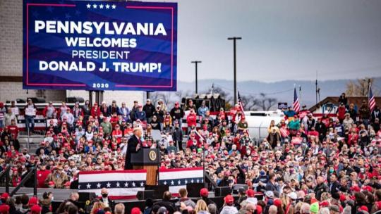 President Trump on October 26, 2020 at a rally in Pennsylvania.