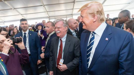 President Trump joined by White House National Security Advisor Ambassador John Bolton participate in a meet and greet with active duty US Service Members stationed in the UK Wednesday, June 5, 2019, at the Southsea Common in Portsmouth, England.