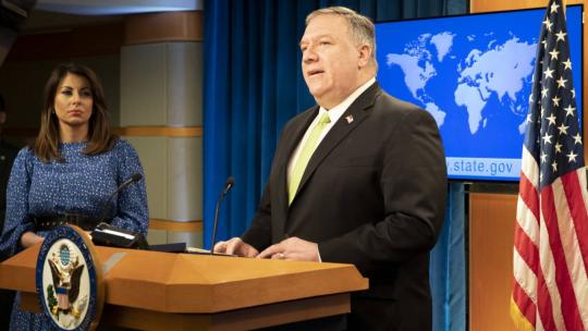U.S. Secretary of State Michael R. Pompeo delivers remarks to the media in the Press Briefing Room, at the Department of State in Washington, D.C., on May 20, 2020.  [State Department Photo by Freddie Everett / Public Domain]