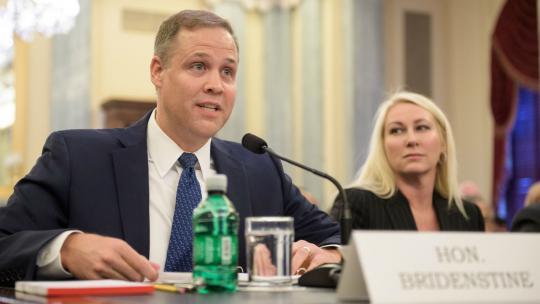 Representative Jim Bridenstine (R–OK) testifies before the Senate science committee on his nomination to lead NASA in November 2017. (NASA/JOEL KOWSKY)