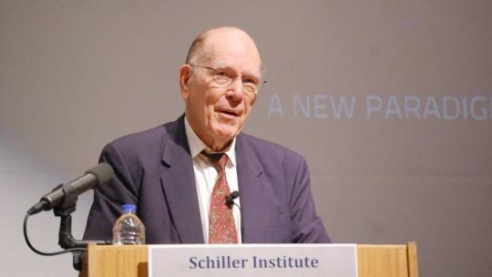 "Lyndon LaRouche delivers the keynote speech at a Schiller Institute conference: ""A New Paradigm To Save Mankind: After 30 Years: The Need for the Principle for the SDI Today!"" March 23, 2013 - Sterling, VA (EIRNS/Stuart Lewis)"