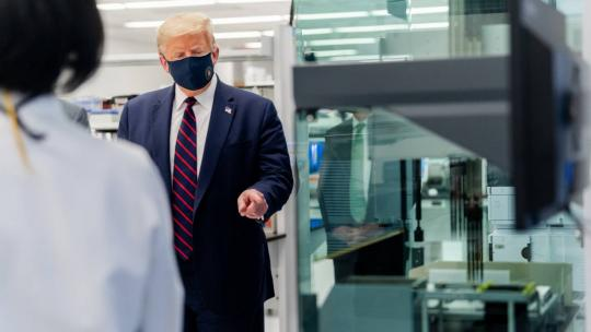 President Donald J. Trump speaks with laboratory personnel during a tour Monday, July 27, 2020, at the Bioprocess Innovation Center at Fujifilm Diosynth Biotechnologies in Morrisville, N.C. (Official White House Photo by Shealah Craighead)