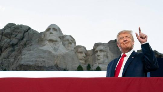 President Donald J. Trump attends a Fourth of July celebration Friday, July 3, 2020, at Mount Rushmore National Memorial in Keystone, S.D. (Official White House Photo by Andrea Hanks)