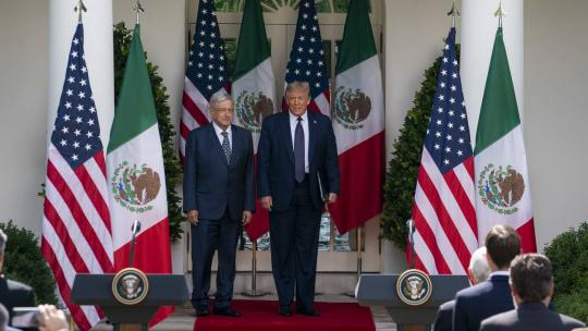 President Donald J. Trump, joined by the President of the United Mexican States Andres Manuel Lopez Obrador, walks from the Oval Office to deliver remarks Wednesday, July 8, 2020, and sign a joint declaration in the Rose Garden of the White House.