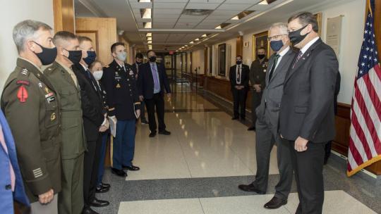 Acting Defense Secretary Christopher C. Miller introduces Lithuanian Defense Minister Raimundas Karoblis at the Pentagon, Nov. 13, 2020. Photo By: Marv Lynchard, DOD