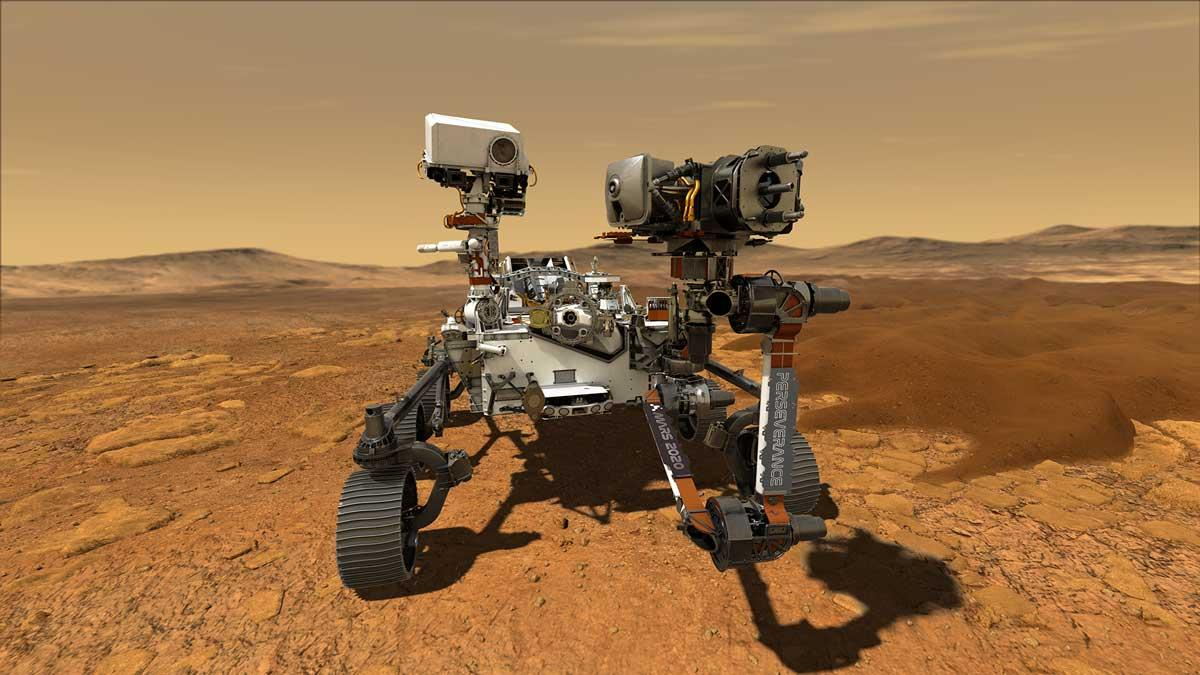 This illustration depicts NASA's Perseverance rover operating on the surface of Mars. Perseverance will land at the Red Planet's Jezero Crater a little after 3:40 p.m. EST (12:40 p.m. PST) on Feb. 18, 2021. Credits: NASA/JPL-Caltech.