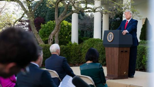 President Donald J. Trump delivers remarks during a coronavirus (COVID-19) update briefing Monday, March 30, 2020, in the Rose Garden at the White House. (Official White House Photo by Tia Dufour)