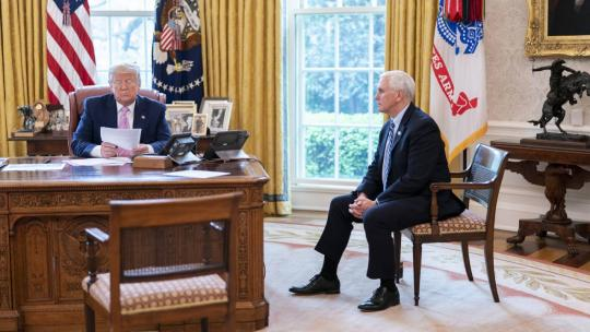 President Trump, joined by Vice President Pence, talk with military family members in the Oval Office of the White House Wednesday, April 1, 2020, during a conference call town hall to discuss the military response to the COVID-19 outbreak. (WH Photo)