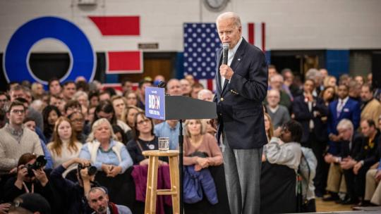 On the eve of the Iowa caucuses, Vice President Joe Biden holds a campaign rally at Hiatt Middle School. Feb 2, 2020 Photo: Phil Roeder, Flickr