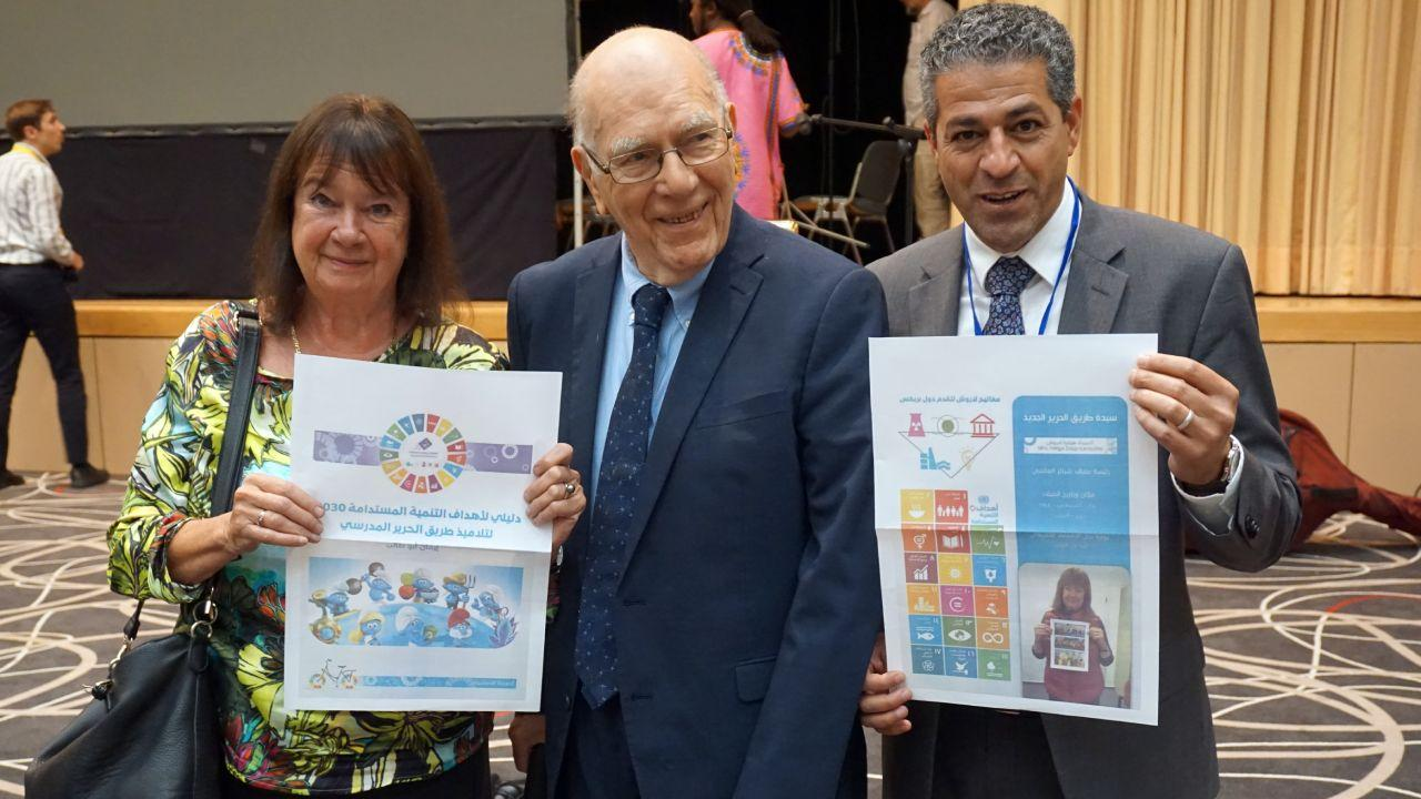 Helga and Lyndon LaRouche, and Hussein Askary, three leaders of the Schiller Institute seen here at the Schiller Institute Conference in Bad Soden, Germany. June 30, 2018 (photo: EIR Magazine)