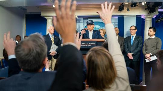 President Donald J. Trump, joined by Vice President Mike Pence and members of the White House Coronavirus Task Force, takes questions from the press at a coronavirus update briefing Saturday, March 14, 2020. (Official WH Photo by Shealah Craighead)