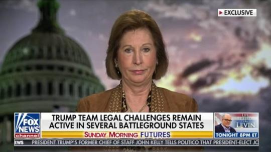 Sidney Powell, a leading member of President Trump's legal team, appeared on Maria Bartiromo's Fox News show Sunday, November 15, 2020.