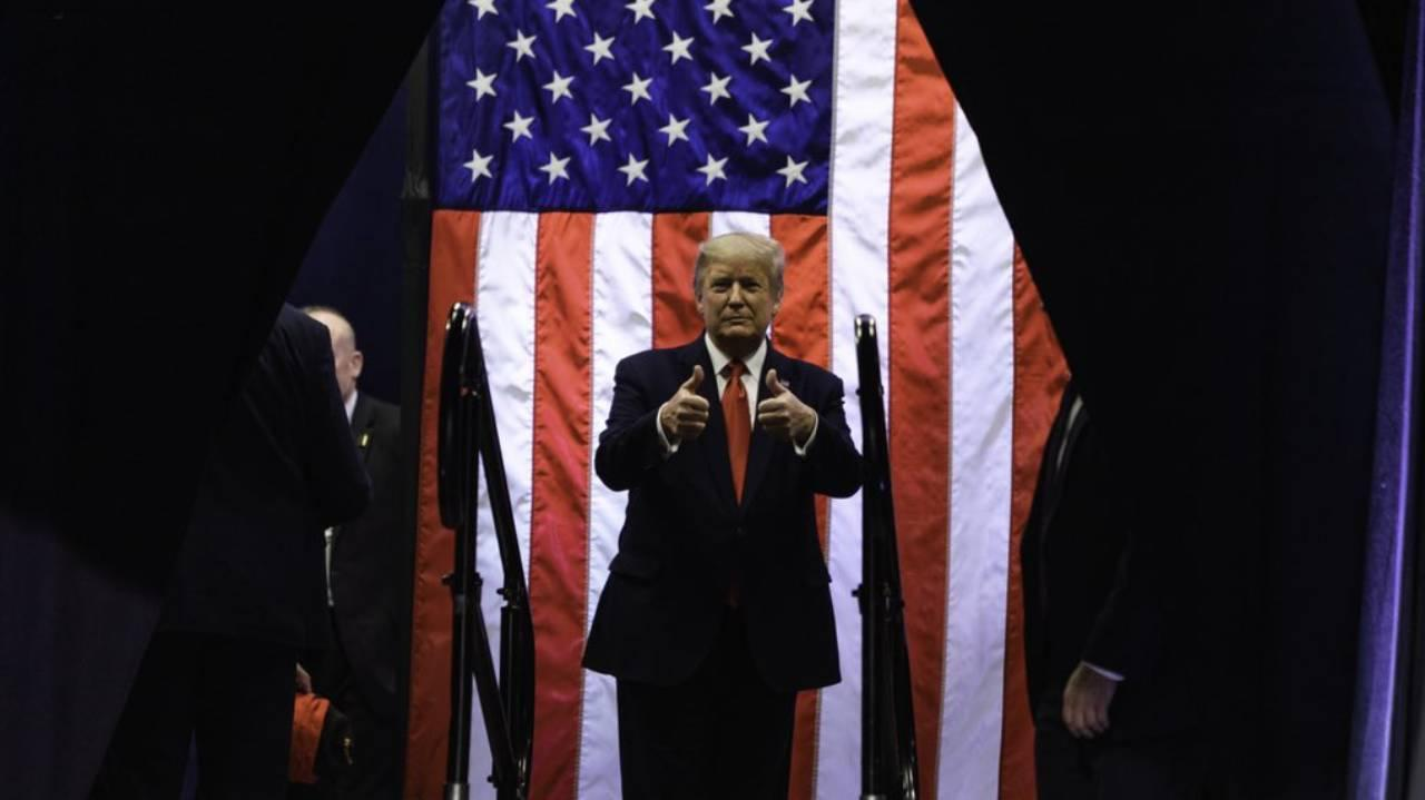 President Trump as he walks onto the stage to his campaign rally in Phoenix, AZ on Feb. 19, 2020. (Real Donald Trump Twitter)