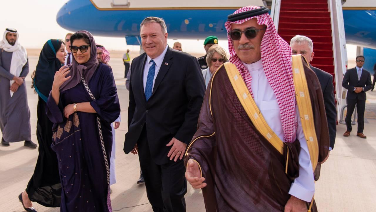 Secretary of State Michael R. Pompeo arrives and is greeted by U.S. Ambassador to Saudi Arabia John Abizaid in Riyadh, Saudi Arabia, on February 19, 2020. [State Department Photo by Ron Przysucha/ Public Domain]