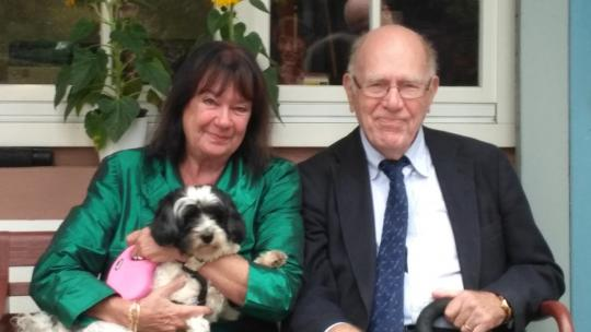 Lyndon LaRouche seen here at his 95th birthday, accompanied by his wife Helga and his beloved dog. September, 2017 (Photos EIRNS)