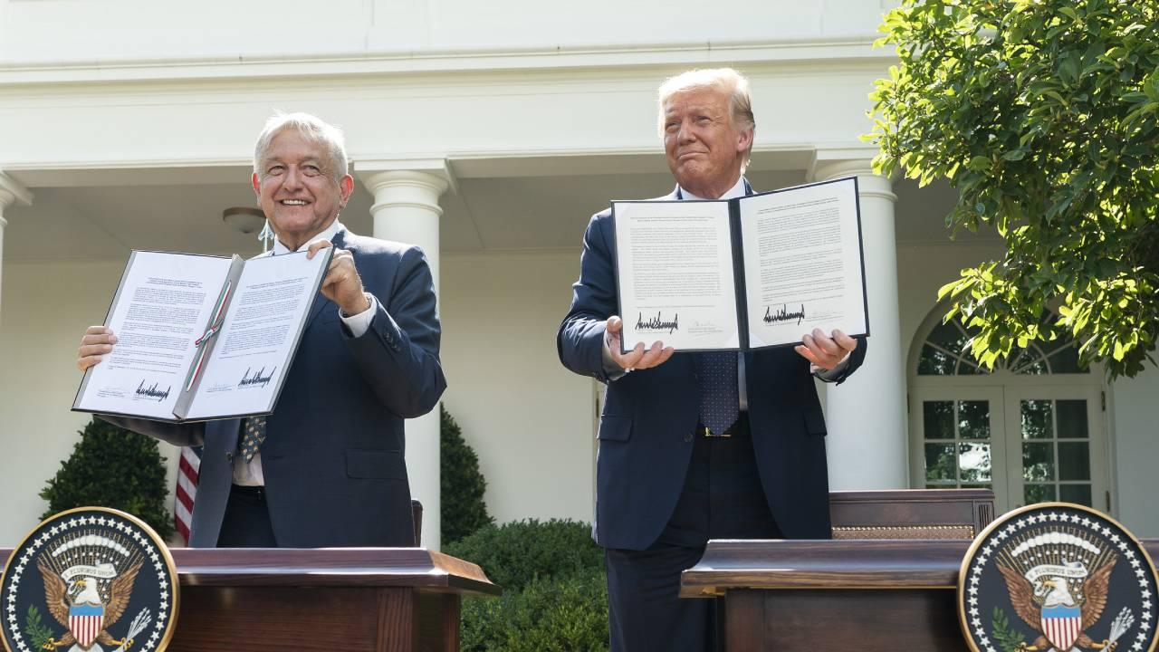 President Donald J. Trump and President of the United Mexican States Andres Manuel Lopez Obrador display their signatures after signing a joint declaration Wednesday, July 8, 2020, in the Rose Garden of the White House. (Official White House Photo)