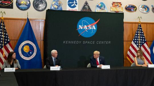 President Trump, the First Lady, Vice President Pence, and the Second Lady participate in a SpaceX Demonstration Mission 2 Launch briefing Wednesday, May 27, 2020, at the Kennedy Space Center Operational Support Building in Cape Canaveral, Fla.