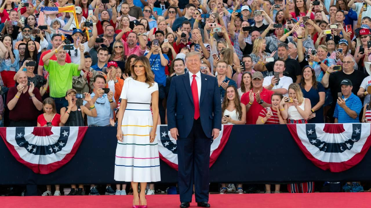 President Donald J. Trump and First Lady Melania Trump arrive onstage at the Salute to America event Thursday, July 4, 2019, at the Lincoln Memorial in Washington, D.C. (Official White House Photo by Andrea Hanks)