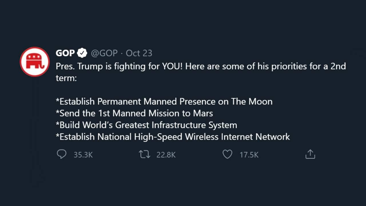 The above Tweet can be found at: https://twitter.com/GOP/status/1319715289328766980