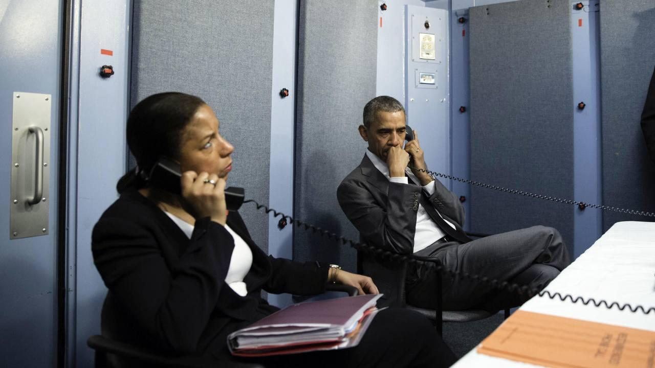 President Barack Obama and National Security Advisor Susan E. Rice talk on the phone with Homeland Security Advisor Lisa Monaco to receive an update on a terrorist attack in Brussels, Belgium. March 22, 2016. (Official White House Photo by Pete Souza)