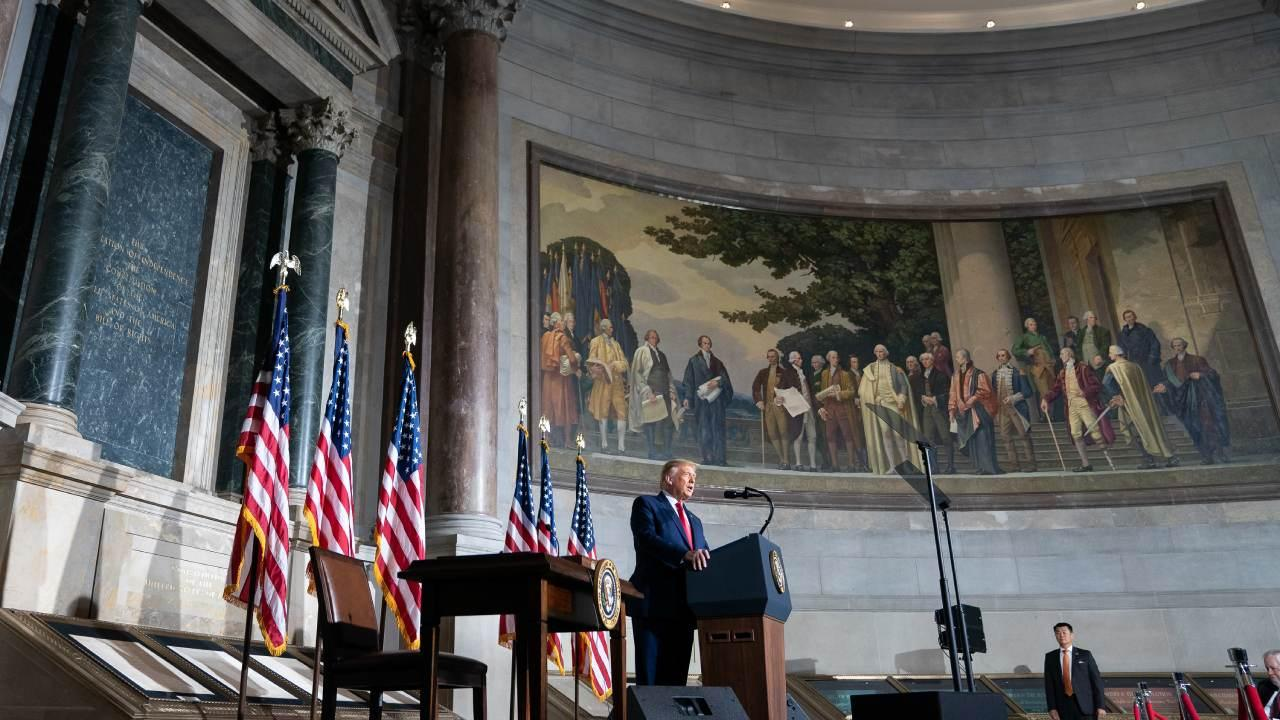 President Donald J. Trump delivers remarks at the White House Conference on American History Thursday, Sept. 17, 2020, at the National Archives and Records Administration in Washington, D.C. (Official White House Photo by Joyce N. Boghosian)