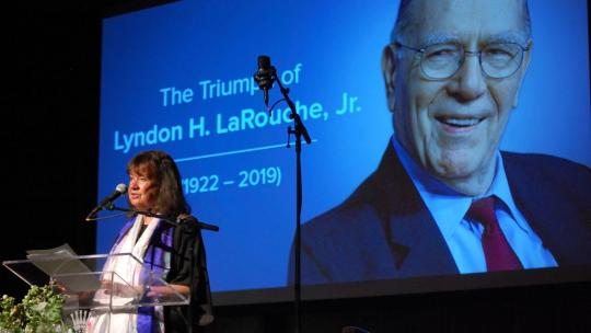 Helga Zepp-LaRouche speaks at a memorial event celebrating the life and legacy of American statesman, Lyndon H. LaRouche, Jr. held in Manhattan, June 8th, 2019 with simultaneous satellite events watching across the country. (Stuart Lewis/EIRNS)