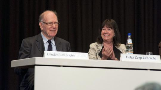 Lyndon and Helga Zepp-LaRouche attend a Schiller Institute Conference in Frankfurt, Germany. April, 2013 (EIRNS/Julien Lematre)