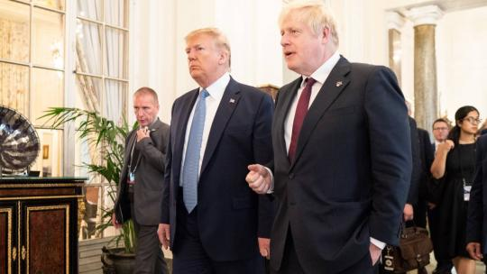 President Donald J. Trump and British Prime Minister Boris Johnson continue to talk at the conclusion of their working breakfast meeting Sunday, Aug. 25, 2019, at Hotel du Palais Biarritz in Biarritz, France, site of the G7 Summit. (Official WH Photo)