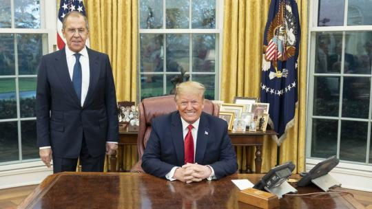 President Donald J. Trump welcomes Russian Foreign Minister Sergey Lavrov Tuesday, Dec. 10, 2019, to the Oval Office of the White House. (Official White House Photo by Shealah Craighead)