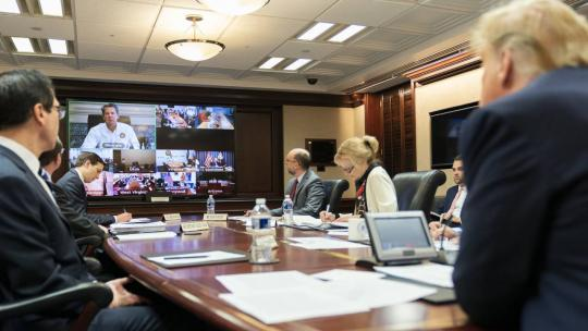 President Trump joined by Vice President Pence, participates in a governors' video teleconference on partnership to prepare, mitigate and respond to COVID-19 Thursday, March 26, 2020, in the White House Situation Room. (Official WH Photo)