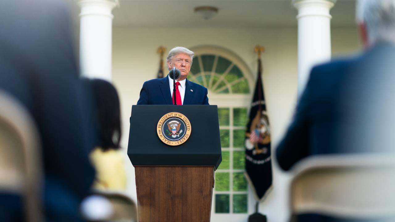 President Donald J. Trump delivers remarks during a coronavirus (COVID-19) update briefing Monday, March 30, 2020, in the Rose Garden at the White House. (Official White House Photo by D. Myles Cullen)