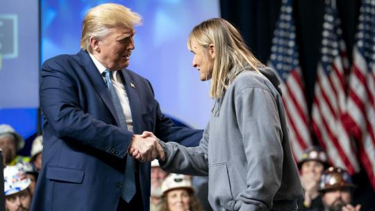 President Donald J. Trump welcomes Andrea Brownlee, owner of Brownlee Trucking, to the stage to deliver remarks at the 9th Annual Shale Insight Conference Wednesday, Oct. 23, 2019, at the David L. Lawrence Convention Center in Pittsburgh. (WH Photo)