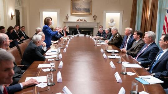 President Donald J. Trump meets with House Speaker Nancy Pelosi and Congressional leadership Wednesday, Oct. 16, 2019, in the Cabinet Room of the White House. (Official White House Photo by Shealah Craighead)