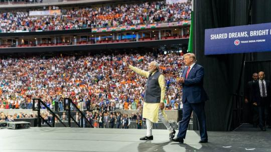 President Donald J. Trump joins India's Prime Minister Narendra Modi on stage Sunday, Sept. 22, 2019, at a rally in honor of Prime Minister Modi at NRG Stadium in Houston, Texas. (Official White House Photo by Shealah Craighead)
