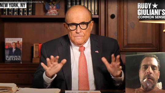 "Rudy Giuliani seen here speaking on his Youtube show, ""Common Sense"". Inset: Photo of Hunter Biden from the hard drive."