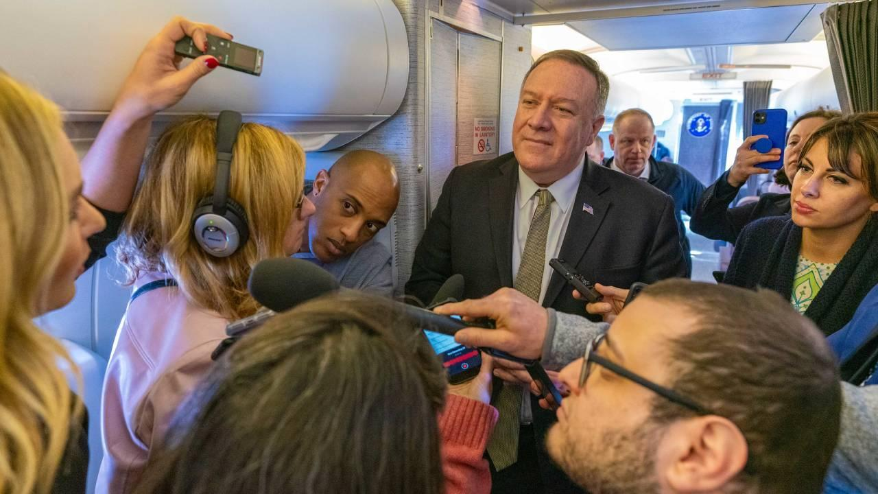 Secretary of State Michael R. Pompeo conducts a press gaggle with traveling media onboard aircraft enroute to Munich, Germany on February 13, 2020. [State Department photo by Ron Przysucha/ Public Domain]