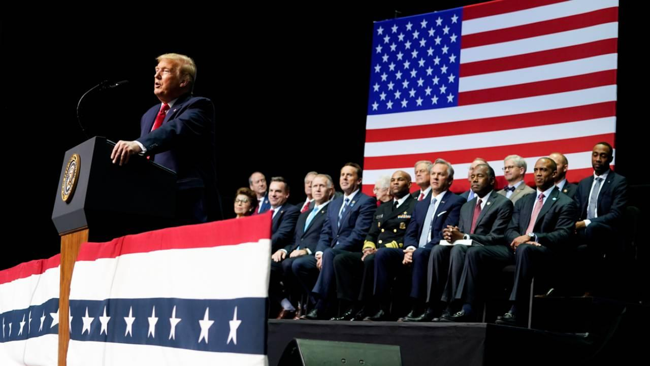 President Donald J. Trump addresses his remarks at the North Carolina Opportunity Now Summit Friday, Feb. 7, 2020, at the Dale F. Halton Theater of Central Piedmont Community College in Charlotte, N.C. (Official White House Photo by Shealah Craighead)