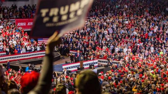 President Trump at a massive campaign rally in Iowa, January 30, 2020.