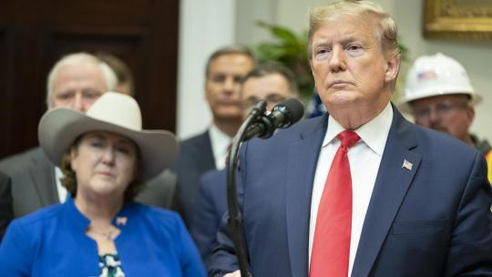 President Donald J. Trump listens to a reporter's question after his announcement of the proposed changes to National Environmental Policy Act (NEPA) regulations Thursday, Jan. 9, 2020, in the Roosevelt Room of the White House. (Official WH Photo)