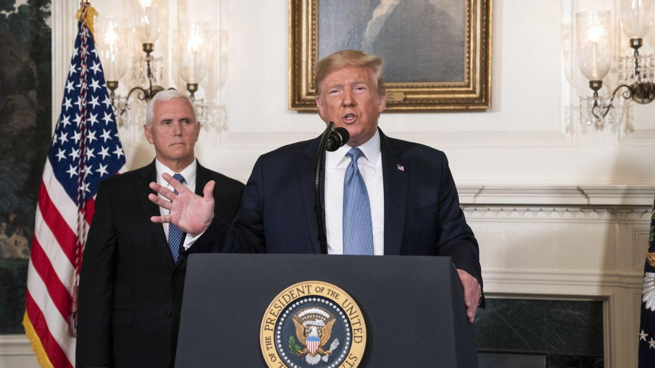 President Trump, joined by Vice President Pence, addresses his remarks August 5, 2019, in the Diplomatic Reception Room of the White House on the mass shootings over the weekend in El Paso, Texas and Dayton, Ohio. (Official White House Photo)